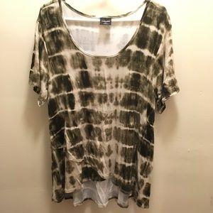 Shirt sleeve asymmetrical top